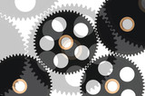 black gears isolated on white poster