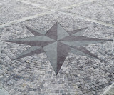 pavement stone compass rose poster