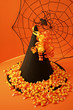 spider web, witch's hat, and candy corn