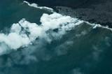 big island aerial shot - lava meets ocean poster