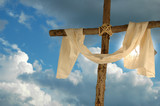 cross, linen cloth and sky poster
