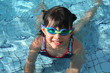 girl with goggle in the pool
