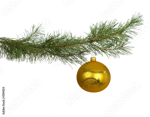 christmas branch with golden bauble