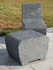 solid stone table and chair