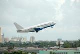 boeing passenger jet taking off poster
