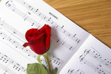 sheet music with rose poster
