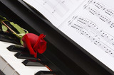 piano sheet music with rose poster