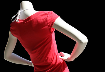 mannequin wearing a red t-shirt