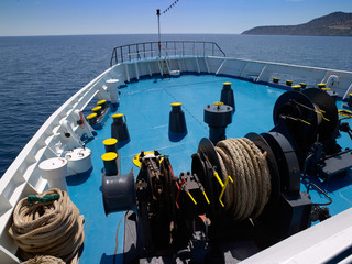 ship bow and gear in mediterranean sea