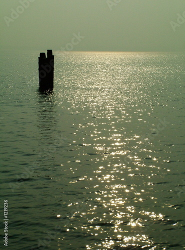post in a lake, sun