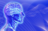 glass male head with brain on brainwaves backgroun poster