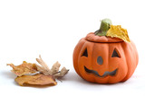 halloween pumpkin with autumn leaves poster