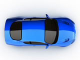 top view of a blue sports car poster