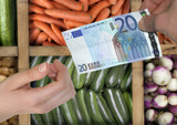 pay vegetables with 20 euros poster