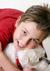young boy and a dog