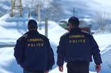 criminal police patrolling in winter