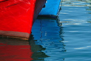 prow of colorful boats