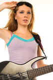 beautiful blondie girl with bass guitar poster