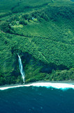 big island aerial shot - coast waterfalls poster