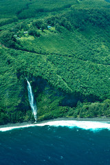 big island aerial shot - coast waterfalls