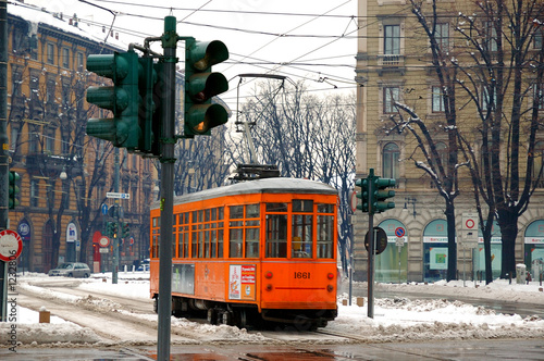 tram in milano with snow - 1232806