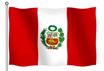 flag of peru waving