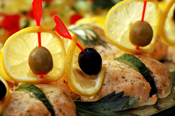 stuffed fish with olive and lemon