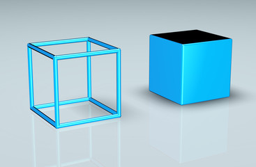 wireframe and solid cube