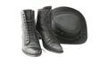 Leinwandbild Motiv boots and hat-black