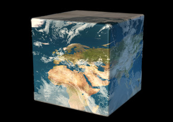 cubic earth facing europe north africa