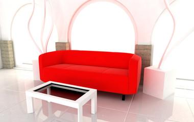 red sofà