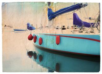 grunge yacht postcard