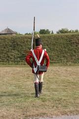 19th century british soldier marching forward