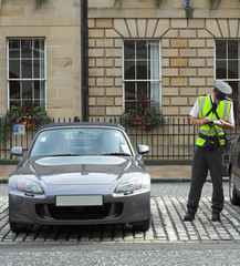 parking attendant, traffic warden, getting ticket