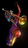 gelled trumpet & saxaphone poster