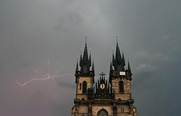 church and thunder storm