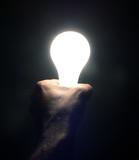 idea concept - hand holding a lightbulb poster