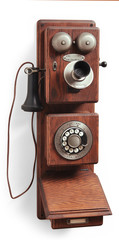 old wood country telephone on white