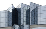 angular glass office building exterior poster