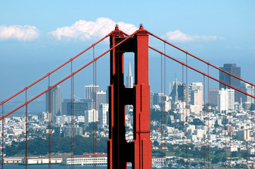 golden gate bridge and transamerica building