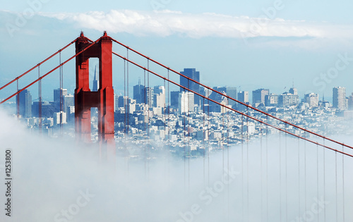 Poster Brug golden gate & san francisco under fog
