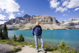 young woman in front of the bow lake poster