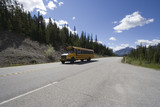 schoolbus in the rockies poster