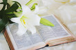 canvas print picture - easter lily and bible