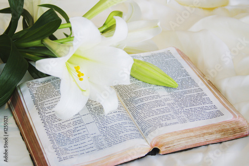 canvas print picture easter lily and bible