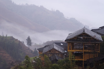 traditional wooden house of minority in china