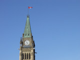 peace tower and blue sky poster