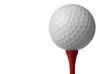 Leinwandbild Motiv golf ball on red tee, white background