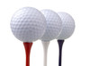 golf balls on red, white & blue tees
