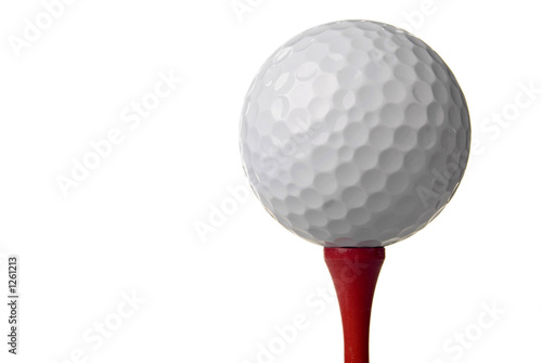 Fotobehang Golf golf ball on red tee, white background